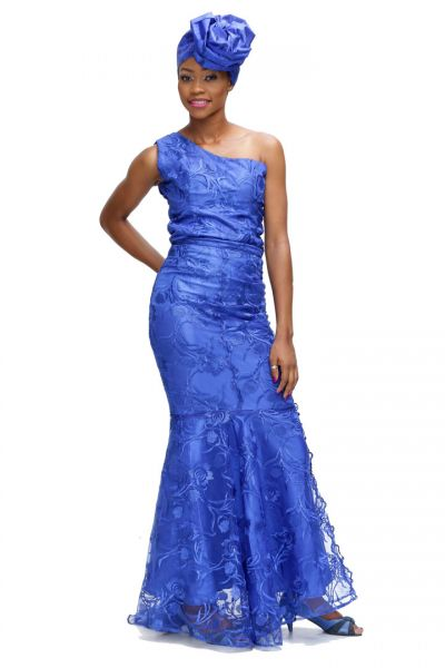 One-Shoulder Sleeveless Mermaid Lace Gown