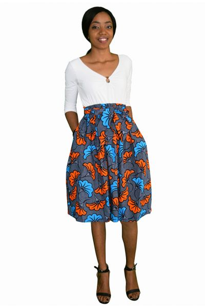 Blue & Orange Ankara Midi Skirt
