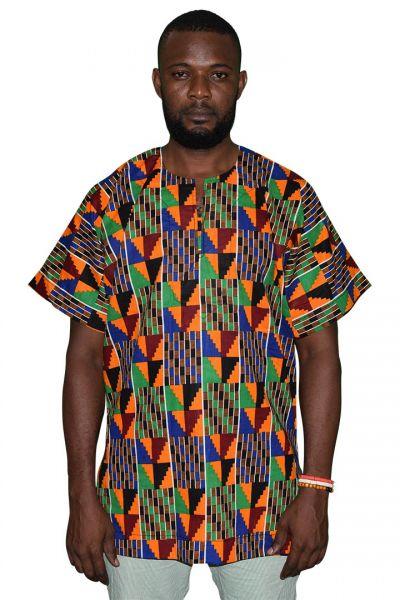 Cut Off Shoulder Slit Neck Native Shirt