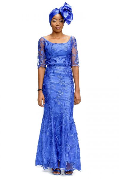 Scoop Half Sleeve Trumpet Lace Gown