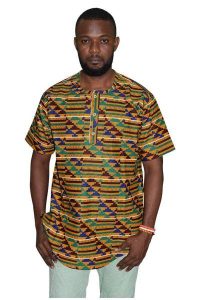 Short-Sleeve Henley Native Shirt