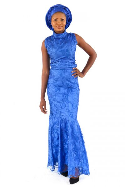 High Neck Sleeveless Trumpet Lace Gown