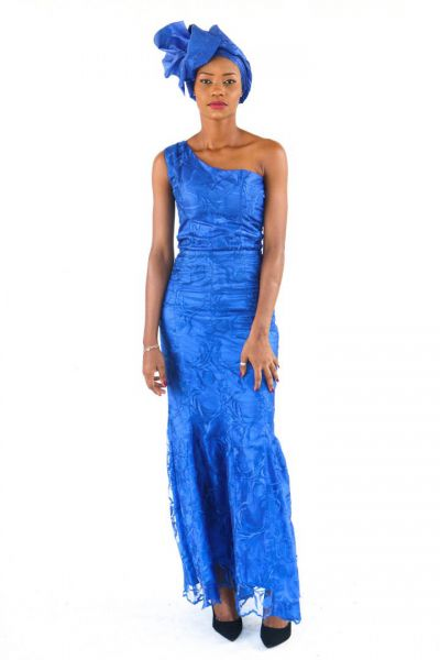 One-Shoulder Sleeveless Trumpet Lace Gown