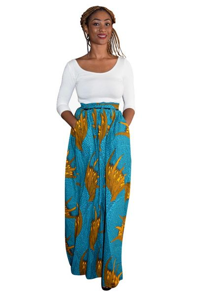Turquoise & Yellow Ankara Maxi Skirt - Plus Size