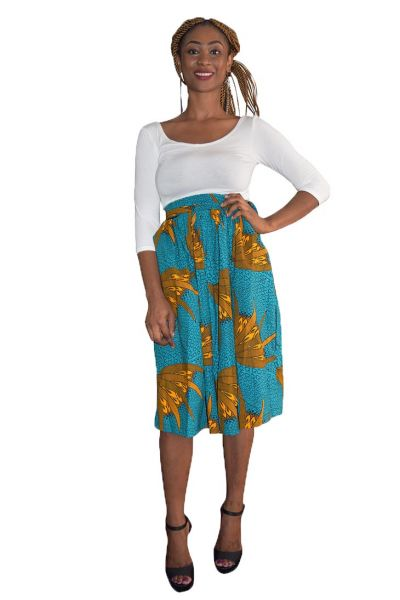 Turquoise & Yellow Ankara Midi Skirt