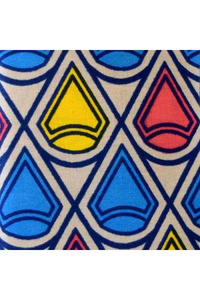 Tan, Blue, Yellow & Flamingo Ankara (W046)