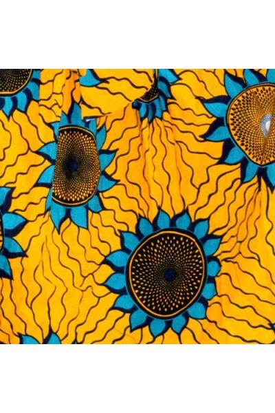 Golden Yellow, Turquoise & Black Ankara (W055)