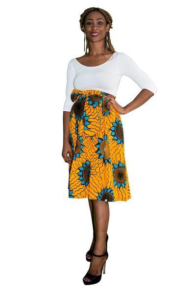 Yellow & Turquoise Ankara Midi Skirt
