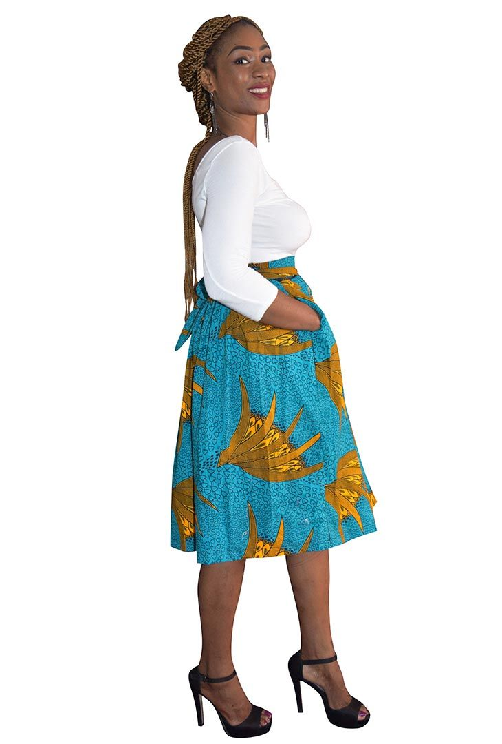 best cheap favorable price new concept Turquoise & Yellow Ankara Midi Skirt