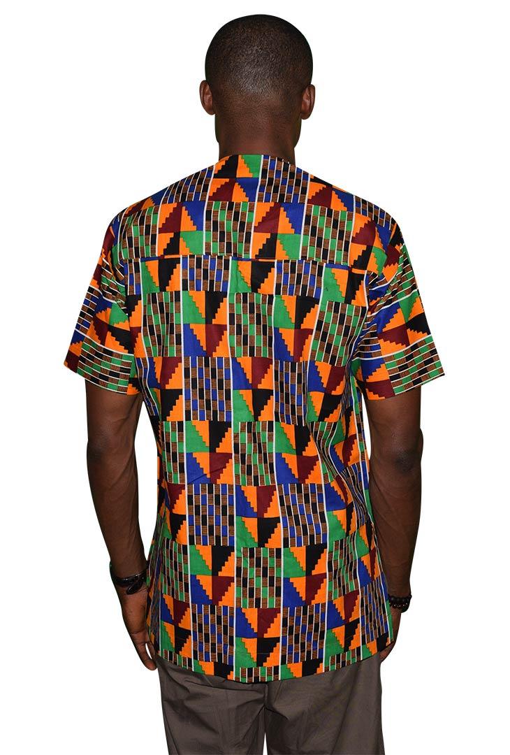 Short-Sleeve Slit Neck Native Shirt Back