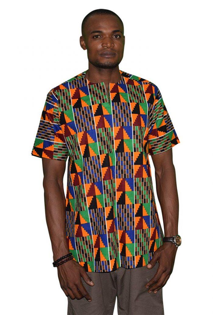 Short-Sleeve Slit Neck Native Shirt