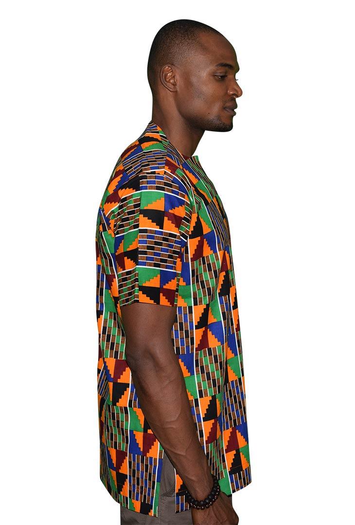 Short-Sleeve Slit Neck Native Shirt Side